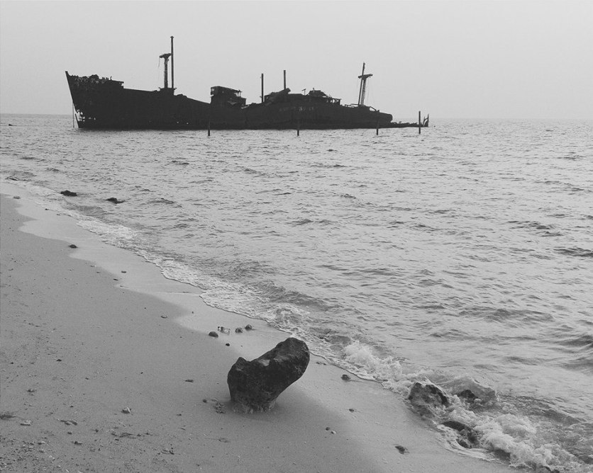 The ship wreck of a Greek cargo steamship - Khoula F. The last owners were Greek thus its nickname.