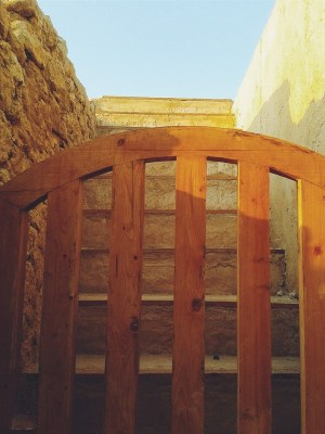 Some parts of the ruins were reconstructed as part of the restoration just like this little wooden gate.